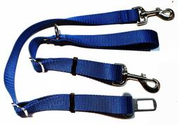 """1""""Adjustable Nylon Dog Leash with D-Ring & Seat Belt ~ Made"""