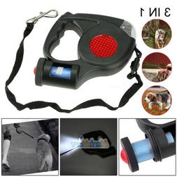 16ft Automatic Retractable Dog Leash Pet Collar With 3 LED L