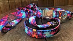 1in Wide Matching Collar And Leash, Galaxy Cosmic Space Dog