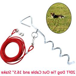 20 Ft Large Dog Tie-Out Cable Leash with heavy duty hooks +1