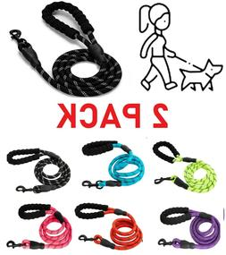 2PACK -5FT Service Dog Rope Leash Lead Train Padded Handle R