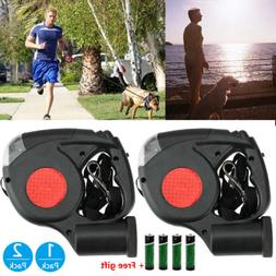 2x 3in1 3 LED Light Dog Traction Rope Auto Retractable Leash