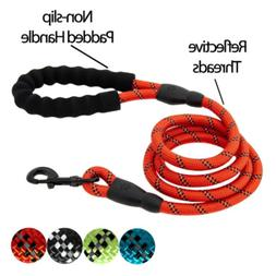 5 FT Strong Dog Leash Padded Handle Reflective Threads Walki