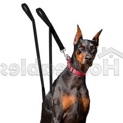 Dog Leash Dual Handle Black Nylon 2 Padded Handles Extra Lon