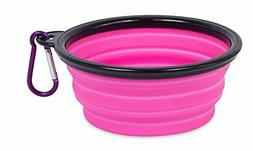 **Pink/Black Portable Collapsible Dog Water Food Dish Attach