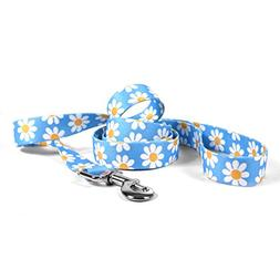 """Yellow Dog Design Blue Daisy Dog Leash 1"""" Wide And 5'  Long,"""