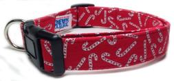 Adjustable Christmas Holiday Dog Collar in Red with Silver C