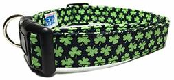 Adjustable Dog Collar in Black with Mini Shamrocks