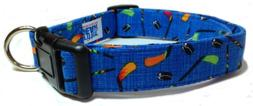 Adjustable Dog Collar in Blue with Hockey Sticks and Pucks