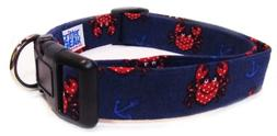 Adjustable Dog Collar in Blue Crabs