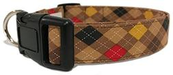 Adjustable Dog Collar in Brown Argyle