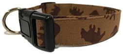 Adjustable Dog Collar in Brown Bears