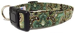 Adjustable Dog Collar in Brown Green Gold Paisley
