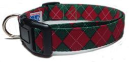 Adjustable Dog Collar in Christmas Argyle - Red