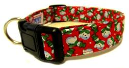 Adjustable Dog Collar in Christmas Red Snow Man