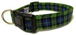 Adjustable Dog Collar in Green Blue Plaid