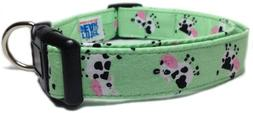 Adjustable Dog Collar in Green Mini Cows