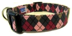 Adjustable Dog Collar in Grey Pink Purple Argyle