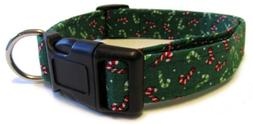 Adjustable Dog Collar in Holiday Christmas Red Green Candy C