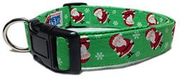 Adjustable Dog Collar in Holiday Christmas Green Santa Parad