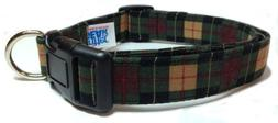 Adjustable Dog Collar in Hunter Plaid