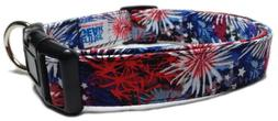 Adjustable Dog Collar in 4th of July Fireworks
