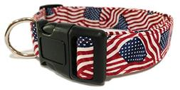 Adjustable Dog Collar in Patriotic 4th of July Flags