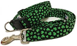 Adjustable Dog Collar and Leash Set in Black with Shamrocks