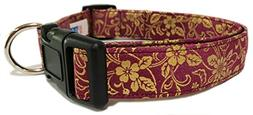 Adjustable Dog Collar in Maroon with Gold Paisley