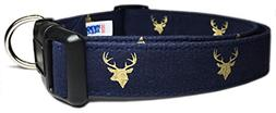Adjustable Dog Collar in Navy Blue with Golden Reindeer