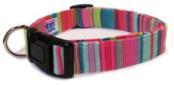 Adjustable Dog Collar in Pink Teals Stripes
