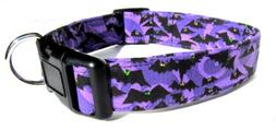 Adjustable Dog Collar in Purple Bats