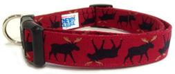 Adjustable Dog Collar in Red with Moose