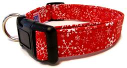 Adjustable Dog Collar in Red Christmas Snowflakes