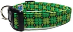 Adjustable Dog Collar in Shamrocks Clovers with Gold Glitter