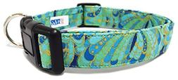 Adjustable Dog Collar in Teal Blue and Gold Paisley