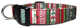 Adjustable Dog Collar with Christmas Candy, Holly, and Strip