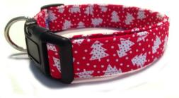 Adjustable Dog Collar in White Christmas Trees