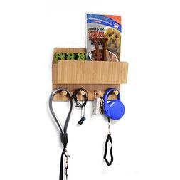 MobileVision Bamboo Pet Supply Organizer All-in-One Wall Mou