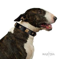 FDT Artisan 30 inch Black Leather Dog Collar with Squares an