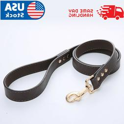 Black PU Leather Dog Leash Handle for Training and Walking D