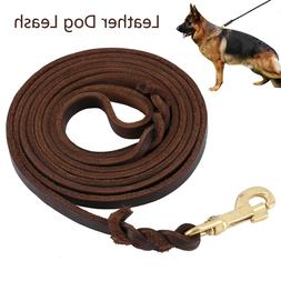9.8 Foot- Braided Leather Dog Leash Heavy Duty Leads for Med