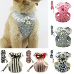 Breathable Mesh Small Dog Pet Harness and Leash Set Puppy Ve