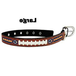 Chicago Bears Leather Football Lace Dog Collar - Large Size