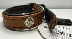 cody dog collar bison leather and steel