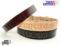 Dog Collar Personalized Leather - Standard Pet Collar/Leash