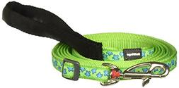 Red Dingo Dog Lead, Lime Green with Blue Stars, 12mm/Small