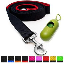 Dog Leash with Bonus Free Waste Bag Dispenser – Thick Pad