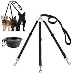 MoSANY 3 Way Dog Leash + a Collapsible Travel Bowl, Nylon Ad
