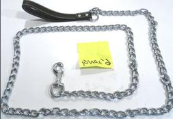 """DOG LEASH CHAIN LINK-72"""" W/LEATHER HANDLE 4.0 MM 6'FOOT"""